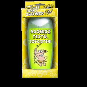 Adonisz testű, szexisten vicces feliratos tusfürdő termék kép