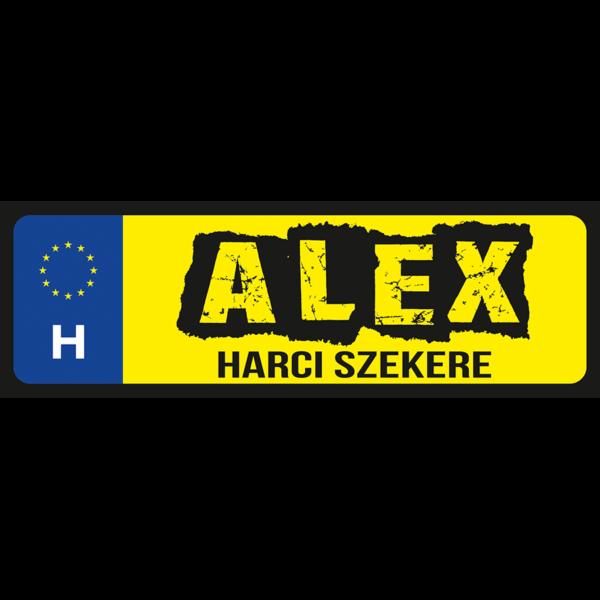 Alex harci szekere neves rendszámtábla minta