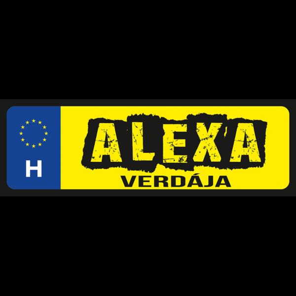 Alexa verdája neves rendszámtábla minta