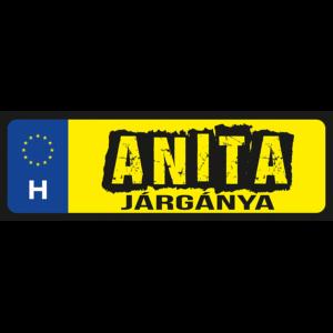 Anita járgánya neves rendszámtábla minta