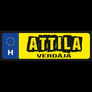 Attila verdája neves rendszámtábla minta