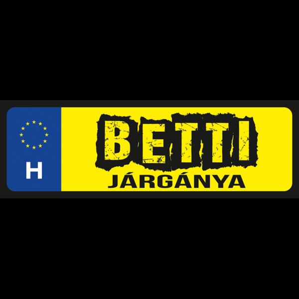 Betti járgánya neves rendszámtábla minta