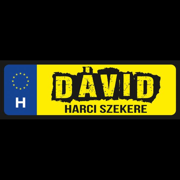 Dávid harci szekere neves rendszámtábla minta