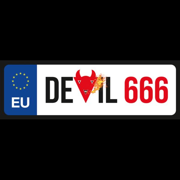 Devil 666 vicces rendszámtábla minta