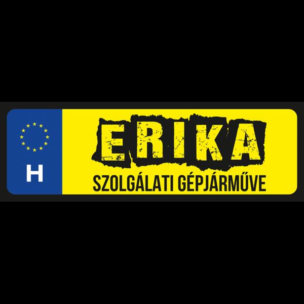 Erika szolgálati gépjárműve neves rendszámtábla minta