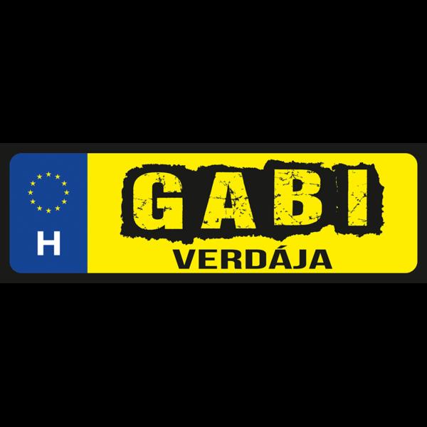 Gabi verdája neves rendszámtábla minta