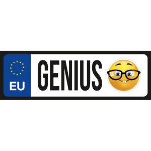 Genius emoji vicces rendszámtábla minta