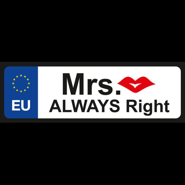 Mrs. Always vicces rendszámtábla minta
