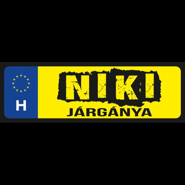 Niki járgánya neves rendszámtábla minta