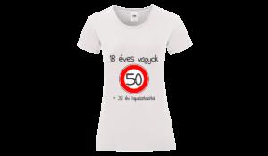 18 éves vagyok +32 év tapasztalattal (50) szülinapi póló női fekete póló minta
