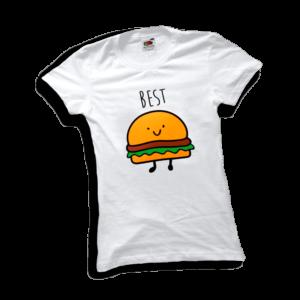 Best friends hamburger női fehér póló minta termék kép
