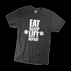 Eat sleep lift repeat férfi fehér póló minta termék kép