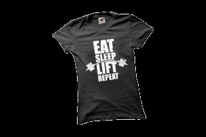 Eat sleep lift repeat női fehér póló minta termék kép