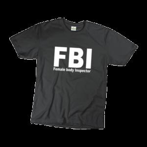 FBI female body inspector férfi fehér póló minta termék kép