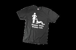 Happy wife happy life férfi fehér póló minta termék kép