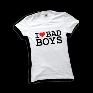 I love bad boys póló női fekete minta