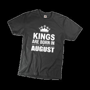 Kings are born in August szülinapi férfi fehér póló minta termék kép