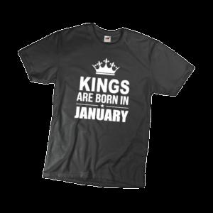 Kings are born in January szülinapi férfi fehér póló minta termék kép