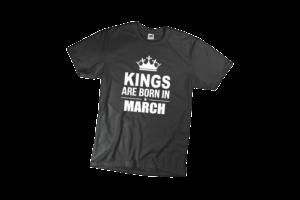 Kings are born in March szülinapi férfi fehér póló minta termék kép