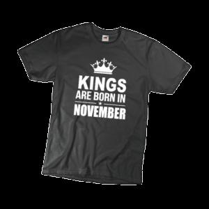 Kings are born in November szülinapi férfi fehér póló minta termék kép