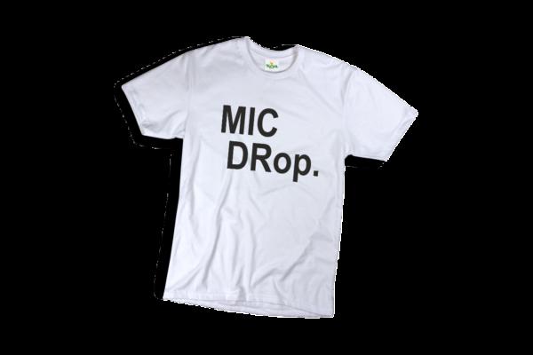 Mic drop férfi fekete póló minta termék kép
