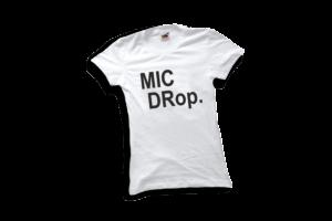 Mic drop női fekete póló minta termék kép