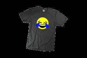 Nevető emoji férfi fekete póló minta termék kép