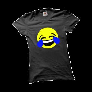 Nevető emoji női fekete póló minta termék kép