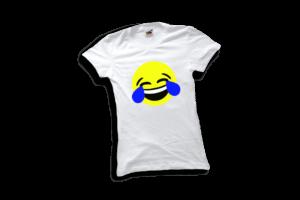 Nevető emoji női fehér póló minta termék kép