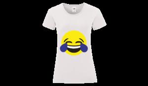 Nevető emoji póló női fekete minta