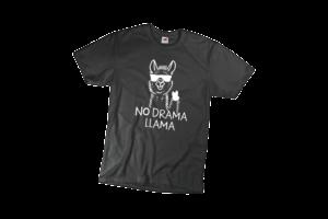 No drama llama férfi fehér póló minta termék kép