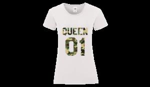 Queen 01 póló női terep fehér alapon minta