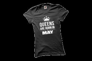 Queens are born in May szülinapi női fehér póló minta termék kép