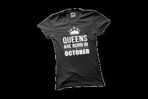 Queens are born in October szülinapi női fehér póló minta termék kép