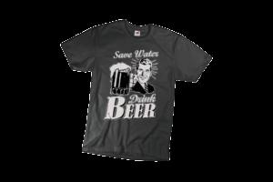 Save water drink beer férfi fehér póló minta termék kép