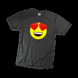 Szerelmes emoji férfi fekete póló minta termék kép