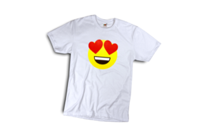 Szerelmes emoji férfi fehér póló minta termék kép