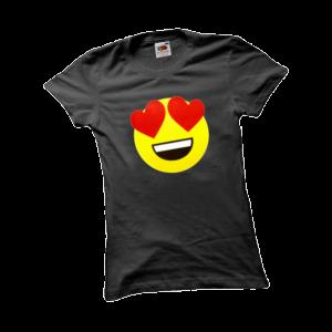 Szerelmes emoji női fekete póló minta termék kép