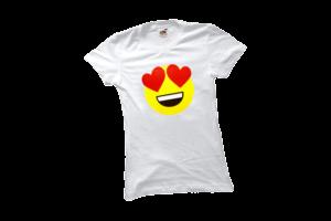 Szerelmes emoji női fehér póló minta termék kép