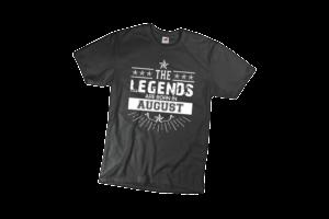 The legend sare born in August szülinapi férfi fehér póló minta termék kép