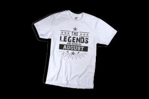 The legend sare born in August szülinapi férfi fekete póló minta termék kép