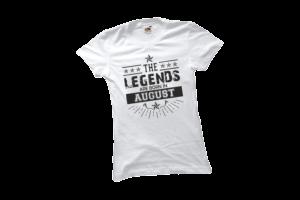 The legend sare born in August szülinapi női fekete póló minta termék kép