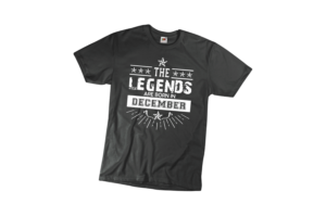 The legend sare born in December szülinapi férfi fehér póló minta termék kép