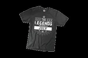The legend sare born in July szülinapi férfi fehér póló minta termék kép