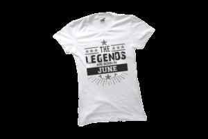 The legend sare born in June szülinapi női fekete póló minta termék kép