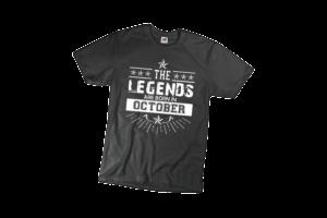 The legend sare born in October szülinapi férfi fehér póló minta termék kép
