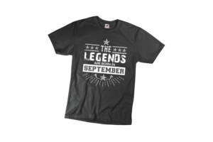 The legends are born in Szeptember szülinapi férfi fehér póló minta termék kép