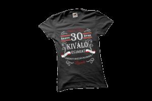 Vintage 30 éves prémium minőségű női fehér póló minta termék kép