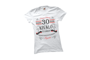 Vintage 30 éves prémium minőségű női fekete póló minta termék kép