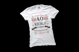 Vintage 40 éves prémium minőségű női fekete póló minta termék kép